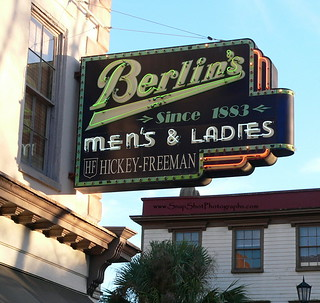 Berlins Mens and Ladies neon sign - Downtown Charleston, South Carolina