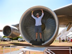 Dad in a 747 engine cowling