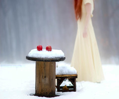 [フリー画像素材] 人物, 女性, 雪, リンゴ ID:201201040200