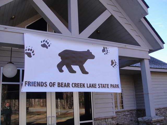 The Friends banner welcomes First Day Hikers for refreshments at Bear Creek Lake State Park