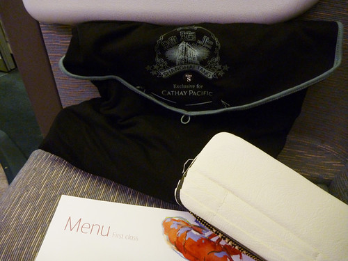 pajamas, menu and amenity kit