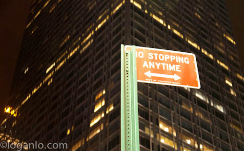 No stopping sign in NYC