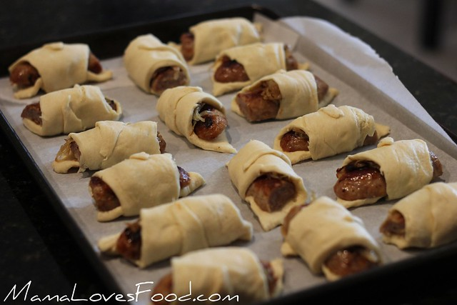 Bratwurst Crescents with Curry Mustard Dipping Sauce
