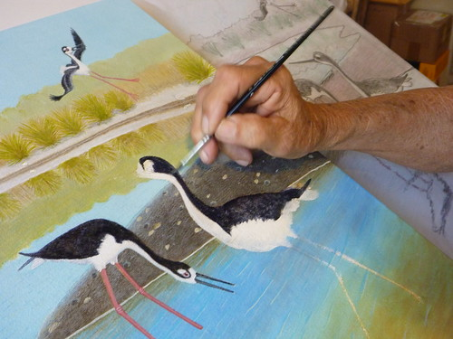 George Weymouth paints black-necked stilts