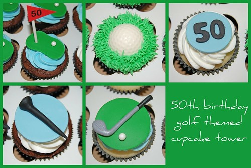 50th Birthday Golf Themed Cupcake Tower