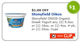 Stonyfield Oikos Organic Greek Yogurt Coupon