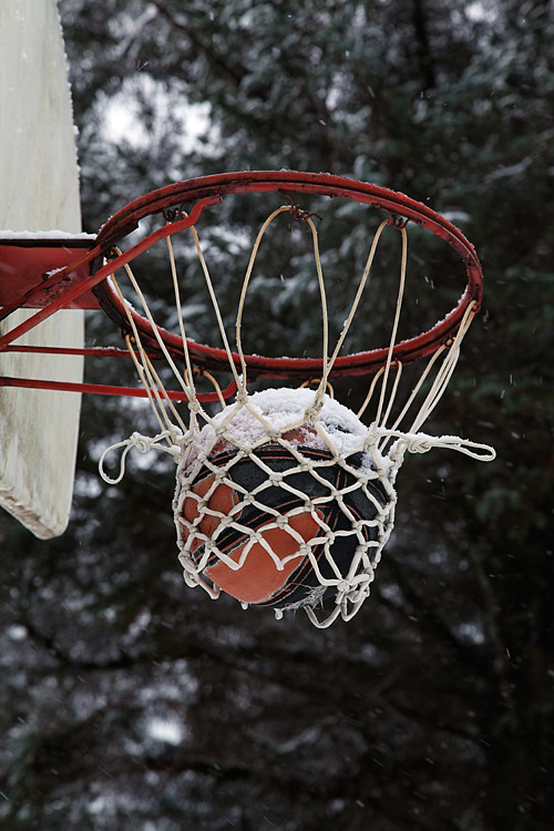 basketball stuck in the net, Kasaan, Alaska