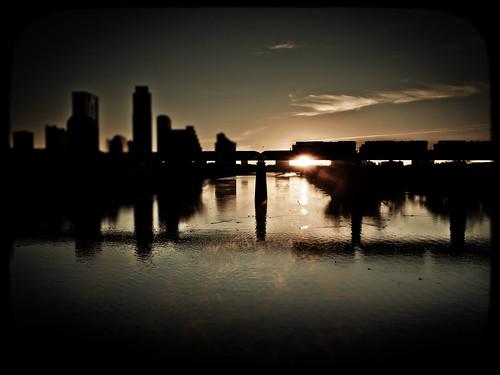 morning bridge skyline train sunrise austin landscape downtown texas pedestrian olympus ladybirdlake epl1