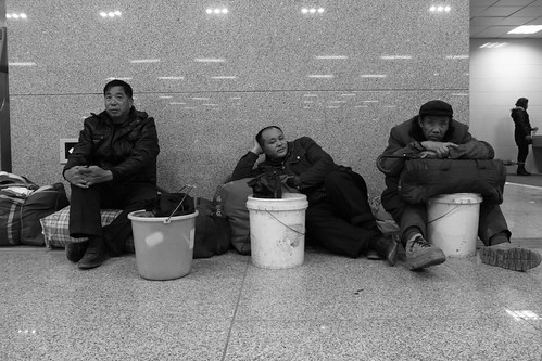 Workers on the way home before Chinese New Year