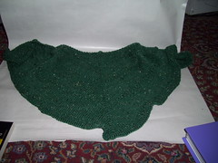 Emerald Isle Shawl pre-blocking