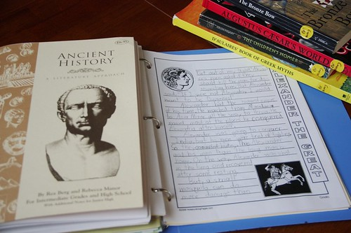notebook and books BF ancient history