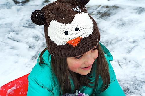 Knit owl hat.