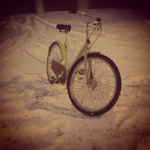 Night, Snow, Paper Bicycle