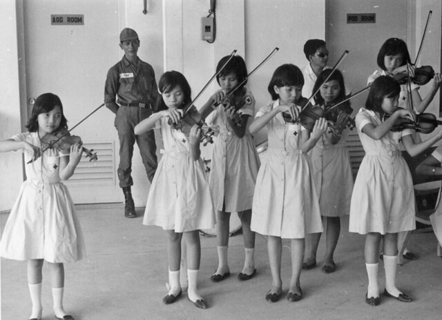 va063361 - South Vietnamese orphans entertain wounded troops at 3rd Field Hospital