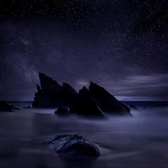 [フリー画像素材] 自然風景, 海, 夜空, 星 ID:201202031800
