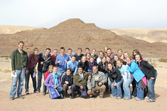 The whole group with our wonderful Egyptian tour guide, Samer (fith from right, front row), and our bus driver, somewhere in the Sinai