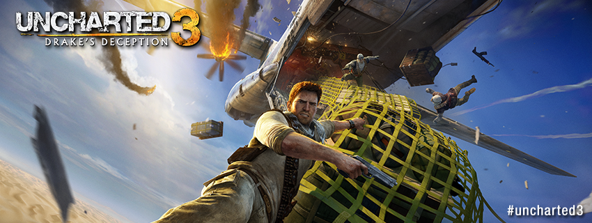 Facebook timeline cover image - Uncharted 3 Drake on a plane