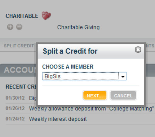 Choose a Family Member for the Split Credit