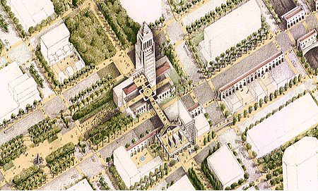 Rendering of City Hall surrounded by parks