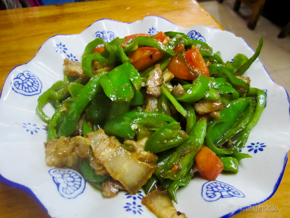 Twice cooked pork with pepper Yangshuo Guangxi China