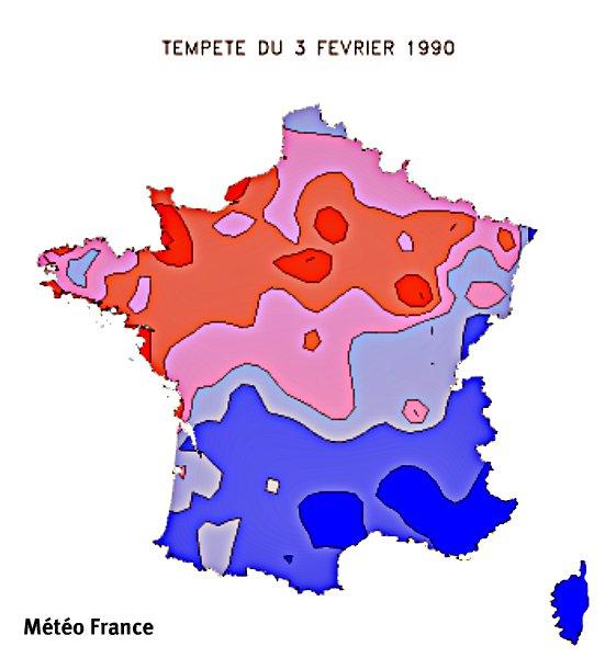 rafales maximales lors de la tempête du 3 février 1990 météopassion