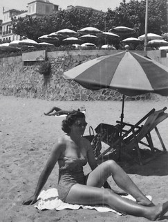 50s Lady Sunbathing on Beach