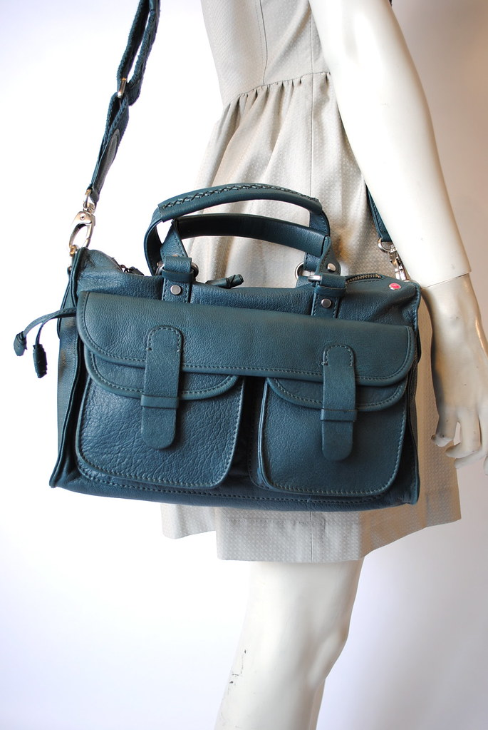 Double Pocket Zip-Top Shoulder Bag