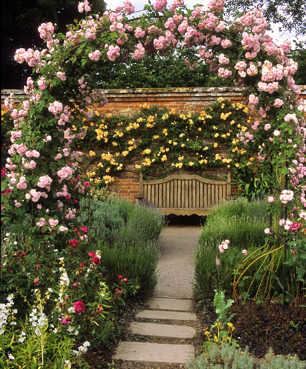 Romantic Garden Design: Mottisfont Abbey Rose Gardens, Hampshire, UK