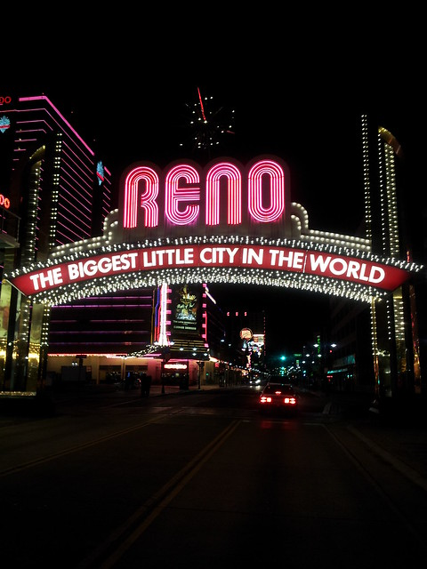 I followed I-80 to Virginia Street and drove under the now famous Reno Arch: