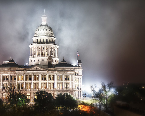The Texas Capital Building in Fog