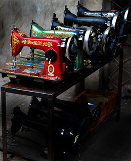 Old sewing machines at repair shop - Walled City, Lahore