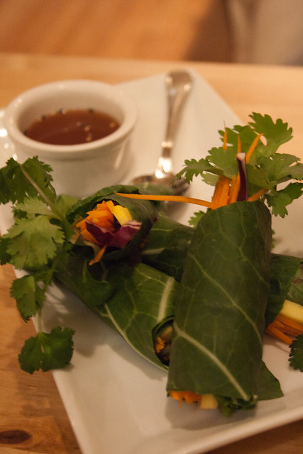 Green Elephant: green collard leaves wrap with mango and herbs, served with a tamarind dipping sauce