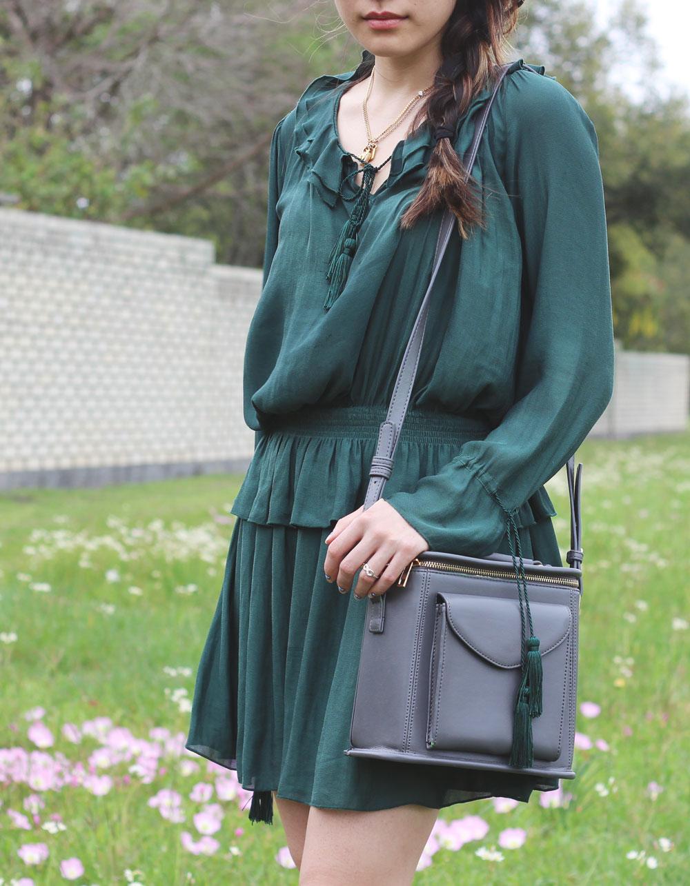 Green mini peplum dress in flower field
