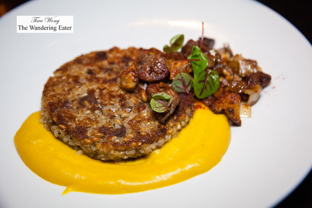 Brut a la plancha - Lamb brown rice cake, merguez, pine nuts, yellow beet puree, idiazabal cheese