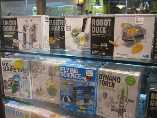 Tin Can Robot and other toys from recycled materials.