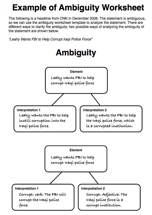 example of ambiguity worksheet short story study guide. Black Bedroom Furniture Sets. Home Design Ideas