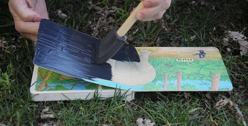 painting book with chalkboard paint