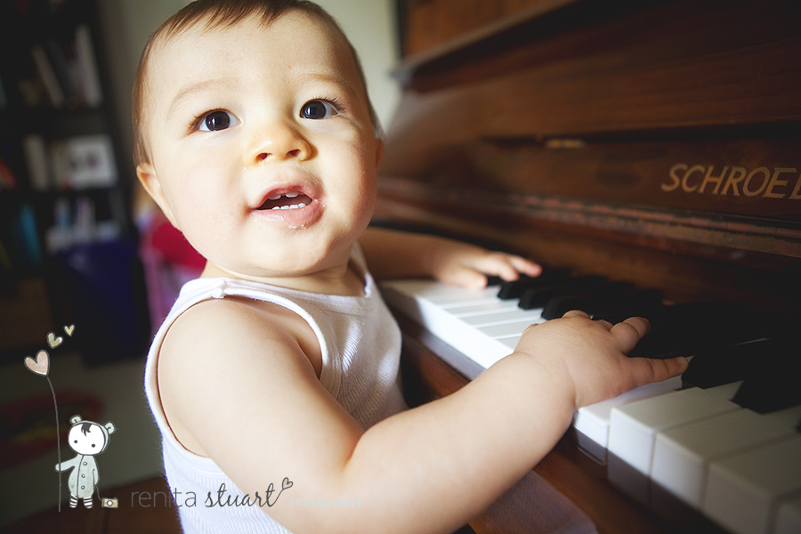 his first time playing piano
