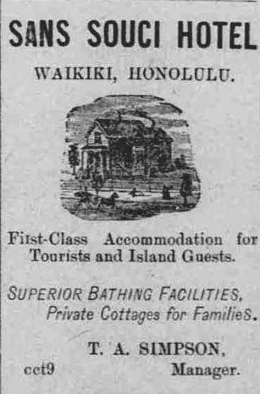 Advertisement for Sans Souci Hotel