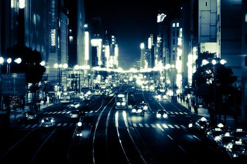 無料写真素材, 建築物・町並み, 都市, 道路・道, 風景  日本, 夜景