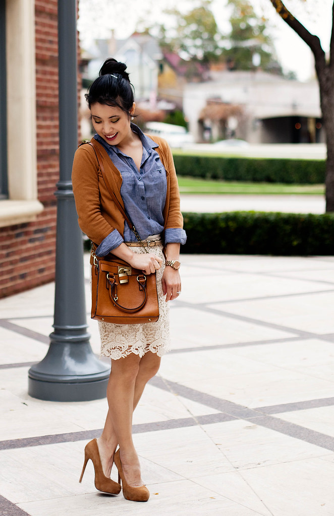 gap ochre ribbed waist cardigan, urban outfitters chambray shirt, forever 21 scalloped lace skirt, bakers wild pair karen tan suede pumps, michael kors rose gold small runway watch mk5430, melie bianco madison purse, ann taylor gold skinny belt
