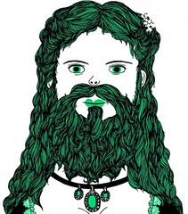 Illustration of a lady with long wavy hair, a long beard and mustache.