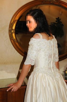 Demetrios Beaded/Embellished Designer Princess Wedding Ball-Gown. MEDIUM. Embroidered