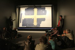 Talking about the history of the Eureka Flag at Ballarat Fine Art Gallery  - 2011 Eureka Commemoration