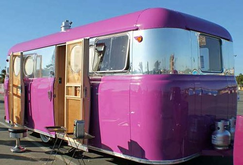 Vintage 1950 United travel trailer purple