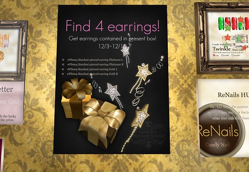 Find 4 earrings - Candy nail by Cherokeeh Asteria