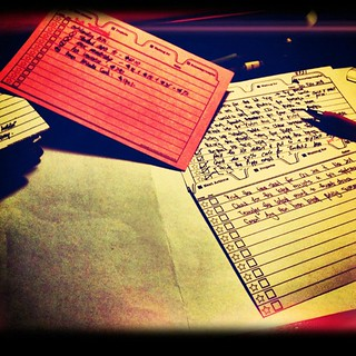 Back to index cards again.