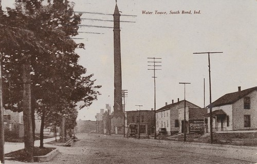 vintage postcard watertower indiana 1910 streetview southbend