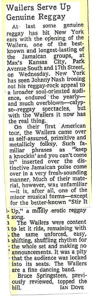 07-20-73 NYT Review - Bob Marley @ Max's Kansas City