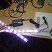 A short (1m) piece of the LED tape on the bench with Arduino control.  This was one of my first test rigs.